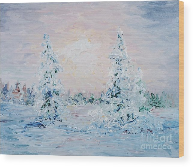 Landscape Wood Print featuring the painting Blue Winter by Nadine Rippelmeyer