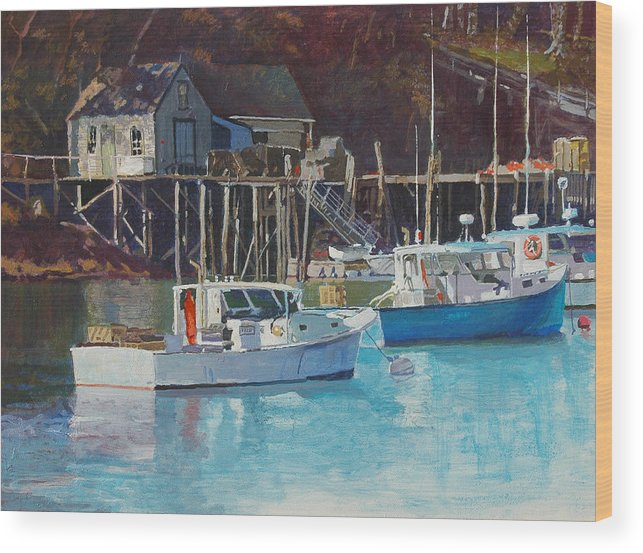 Maine Wood Print featuring the painting Boat Shack by Robert Bissett