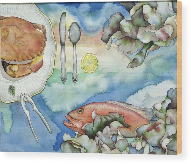 Sea Wood Print featuring the painting Bon Appetit Together Right Image Diptych by Liduine Bekman