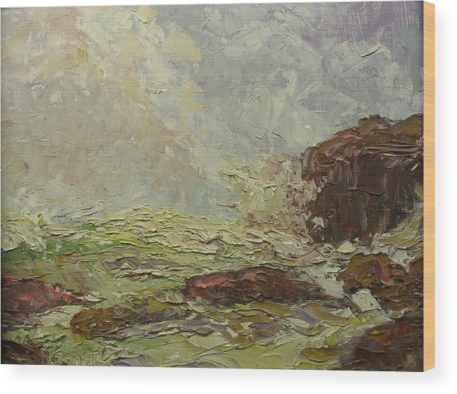 Landscape Wood Print featuring the painting Breaking On Shore Coast Of Maine Usa by Belinda Consten
