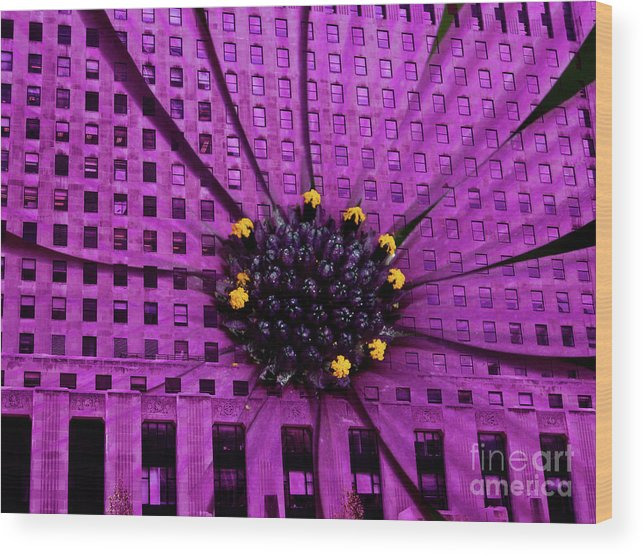 Daily News Building In Chicago Wood Print featuring the digital art Brick And Mortar Daisy by Lillian Michi Adams