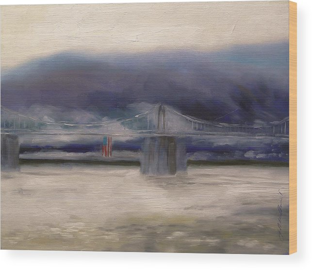 American Flag Wood Print featuring the painting Bridge Colors by John Williams