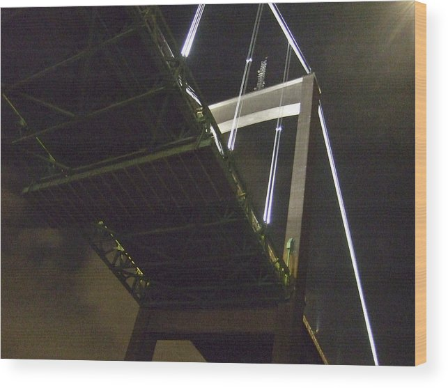 Night Wood Print featuring the photograph Bridge No 2 by Dan Andersson