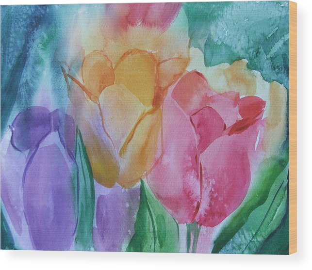 Floral Wood Print featuring the painting Bright And Pretty by Dianna Willman