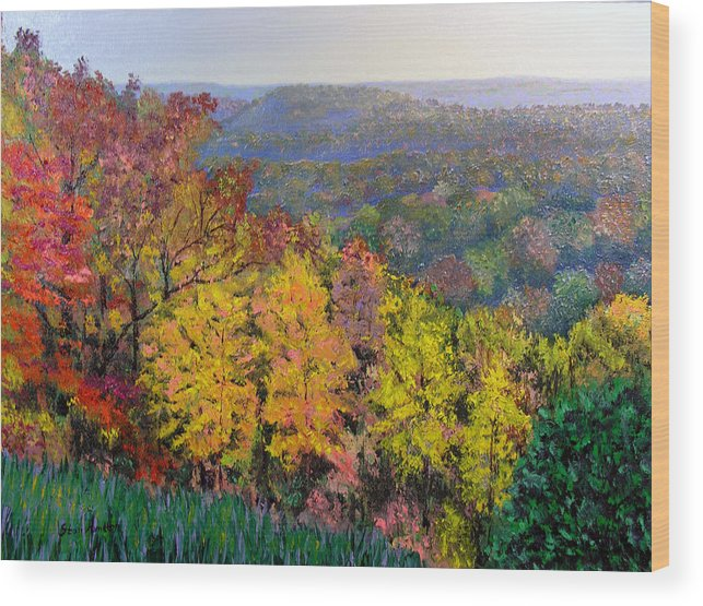 Fall Wood Print featuring the painting Brown County Vista by Stan Hamilton