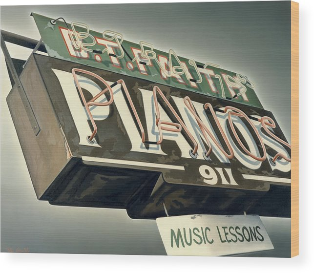 Sign Wood Print featuring the painting B.t.faith Pianos by Van Cordle