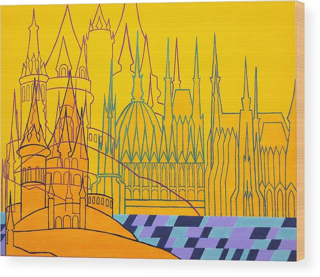 Architecture Wood Print featuring the painting Budapest by Itala Carla Gasparini