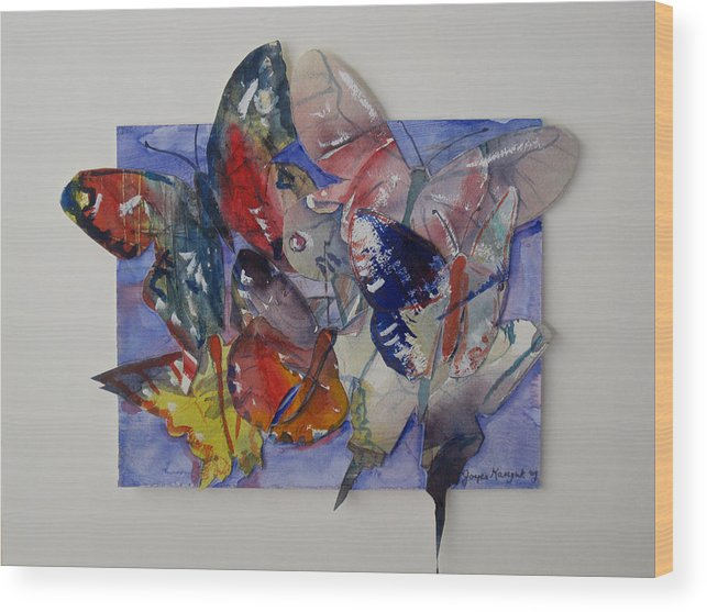 Butterflies Wood Print featuring the painting Butterflies In Flight by Joyce Kanyuk