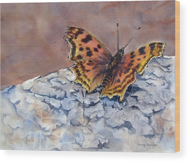 Butterfly Wood Print featuring the painting Butterfly-in-the-old-growth-forest by Nancy Newman