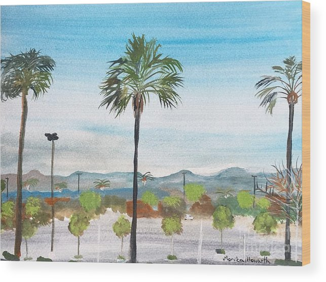 California Watercolour Painting By Artist Monika Howarth. Wood Print featuring the painting California Painting by Monika Howarth