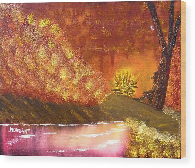 Campfire Sceneat Vthe End Of The Day Wood Print featuring the painting Campfire by Sheldon Morgan