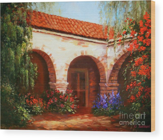 Landscape Wood Print featuring the painting Capistrano by Gail Salitui