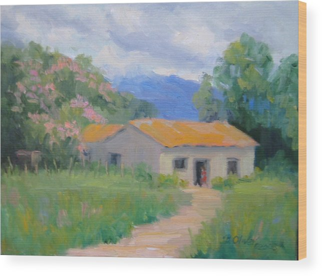 Honduras Wood Print featuring the painting Casita De Campo by Bunny Oliver