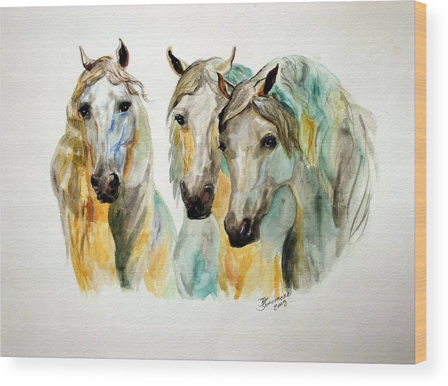 Horses Wood Print featuring the painting Cavalia II by BJ Redmond