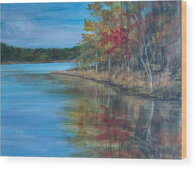 Fall Wood Print featuring the painting Channings Lake by Pete Maier