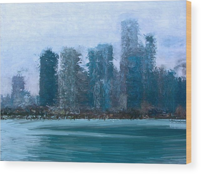 Chicago Navy Pier Lake Water Skyline Ntw Lauren 2010 Digital Painting Paint Blue Green Fog Foggy Wood Print featuring the photograph Chicago From The Navy Pier by Nancy TeWinkel Lauren