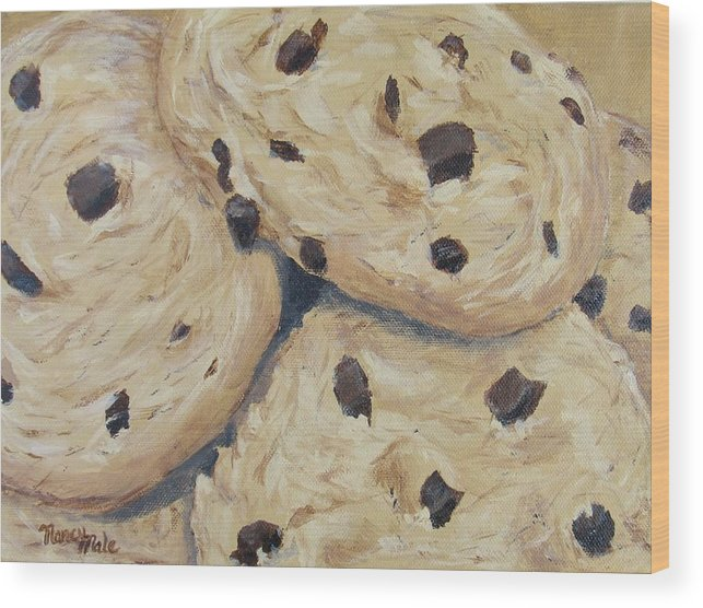 Dessert Wood Print featuring the painting Chocolate Chip Cookies by Nancy Nale