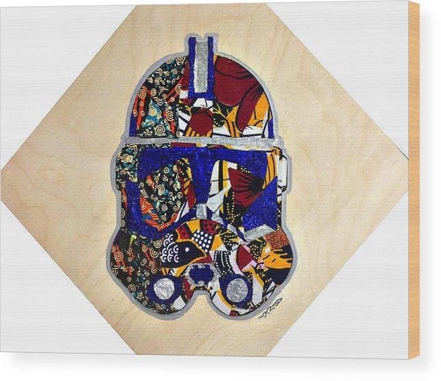 Clone Trooper Wood Print featuring the tapestry - textile Clone Trooper Star Wars Afrofuturist by Apanaki Temitayo M