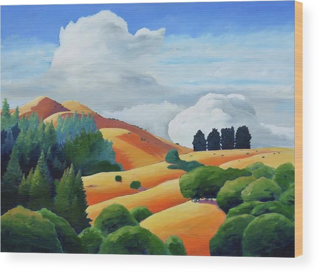 Clouds Wood Print featuring the painting Clouds Over Windy Hill by Gary Coleman