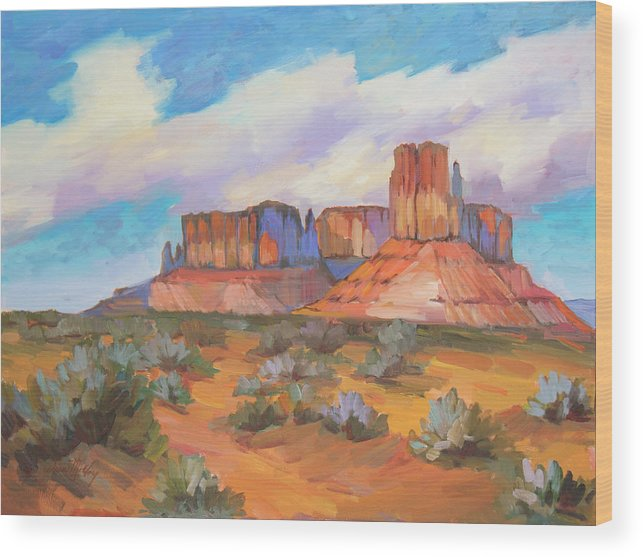Monument Valley Wood Print featuring the painting Clouds Passing Monument Valley by Diane McClary