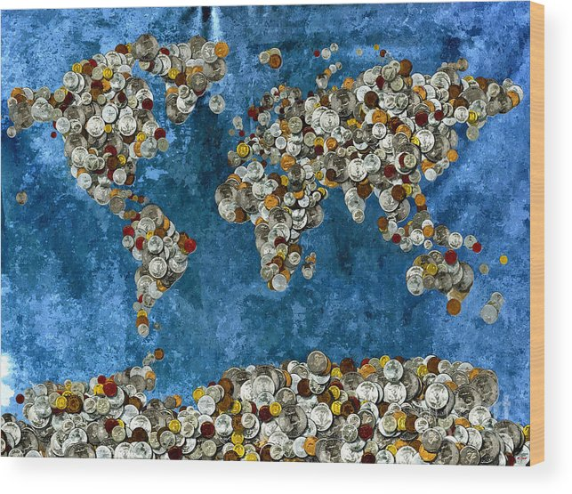 Coins World Map Wood Print featuring the mixed media Coins World Map by Daniel Janda