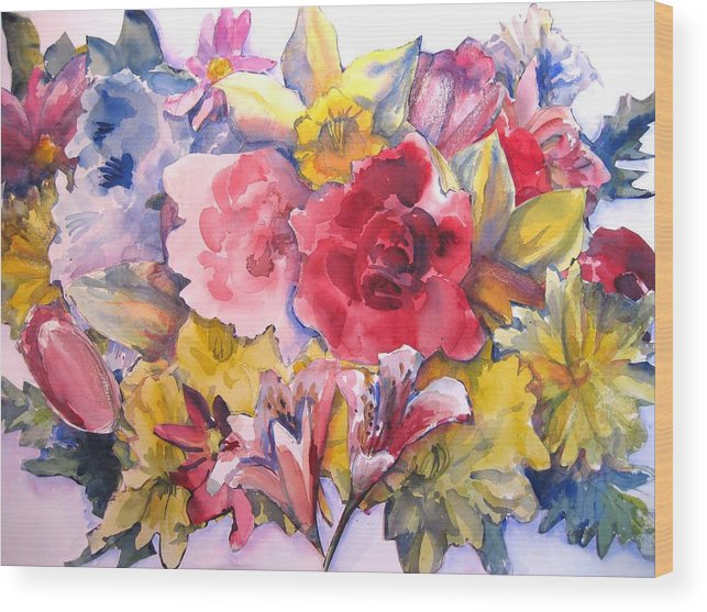Collage Wood Print featuring the painting Collage Of Flowers by Joyce Kanyuk