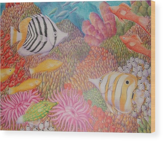 Seascape Fish Coral Drawing Wood Print featuring the drawing Colorful Ocean by Jubamo