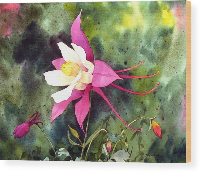 Flowers Wood Print featuring the painting Columbine by Faye Ziegler