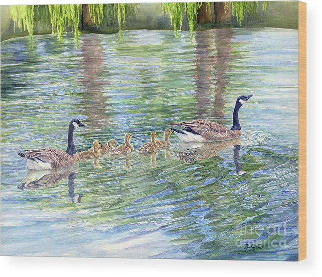 Canadian Geese Wood Print featuring the painting Commitment by Malanda Warner