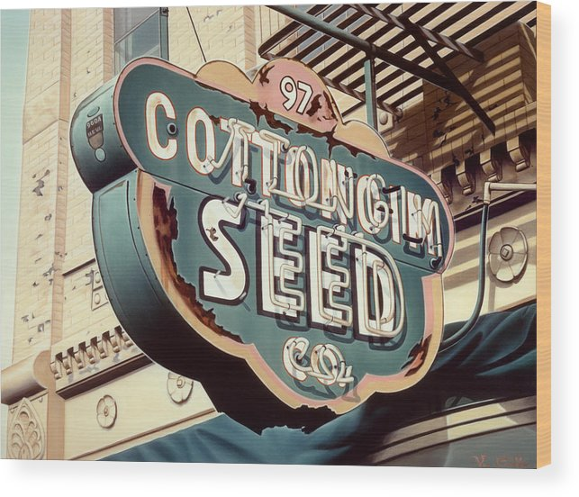 Sign Wood Print featuring the painting Cottongim Seed by Van Cordle