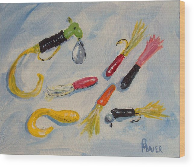 Fishing Wood Print featuring the painting Crappie Lures by Pete Maier