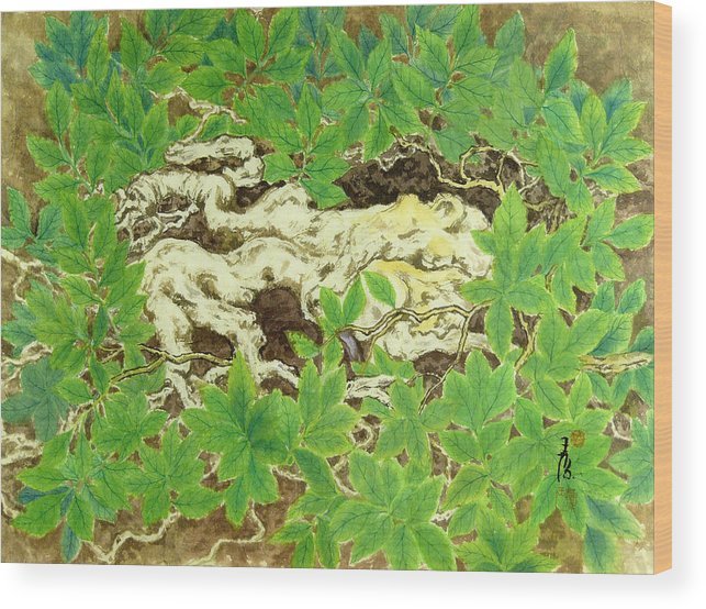 Plant Wood Print featuring the painting Crash In by Ying Wong
