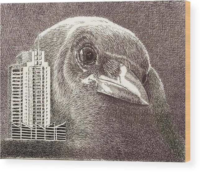 Pen Wood Print featuring the drawing Crow Over Casino Windsor by Wade Clark