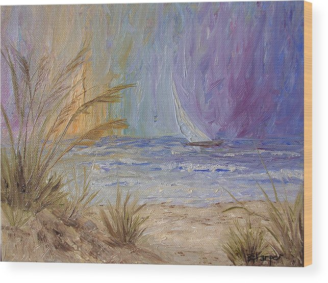 Sailboats Wood Print featuring the painting Cruising The Ocean by Barbara Harper