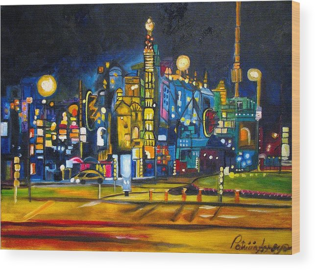 Cityscape Wood Print featuring the painting Dam Square by Patricia Arroyo