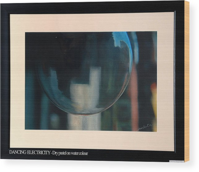 Abstract Wood Print featuring the painting Dancing Electricity 1 by Ankita Joshi