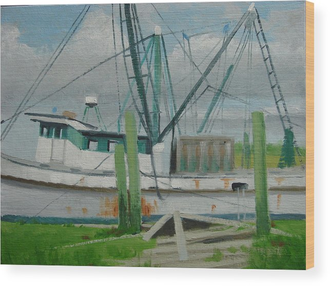 Boat Shrimp Boat Work Boat Wood Print featuring the painting Day Of Rest by Robert Rohrich