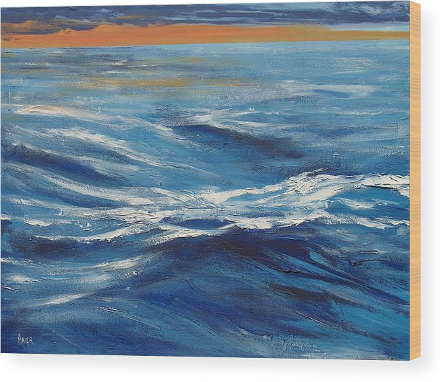 Seascape Wood Print featuring the painting Deep Blue by Pete Maier