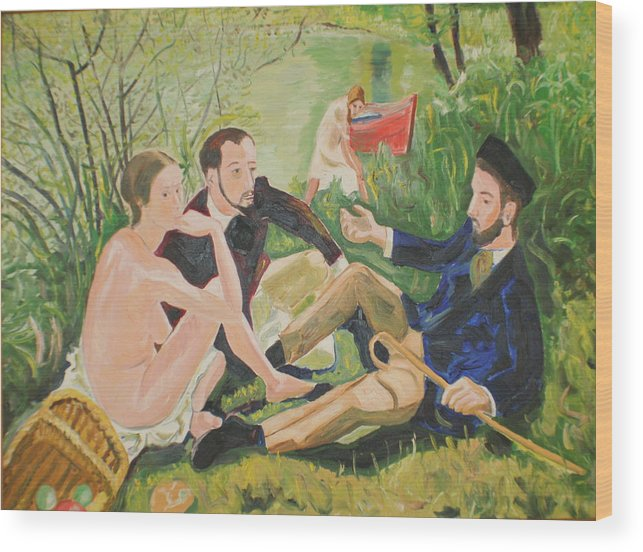 Wood Print featuring the painting Dejeuner Sur L'herbe by Biagio Civale