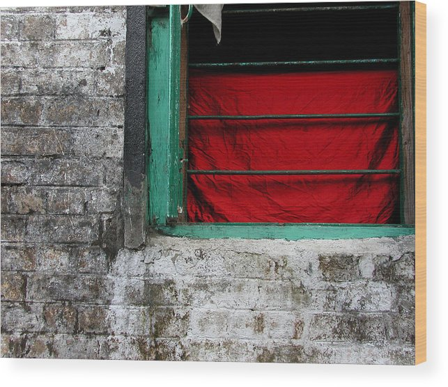 Red Wood Print featuring the photograph Dharamsala Window by Skip Hunt