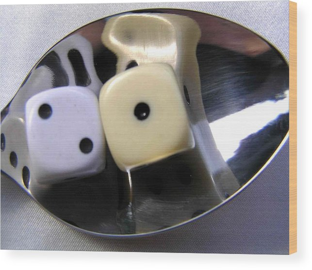 Dice Wood Print featuring the photograph Dice In A Spoon by Evguenia Men