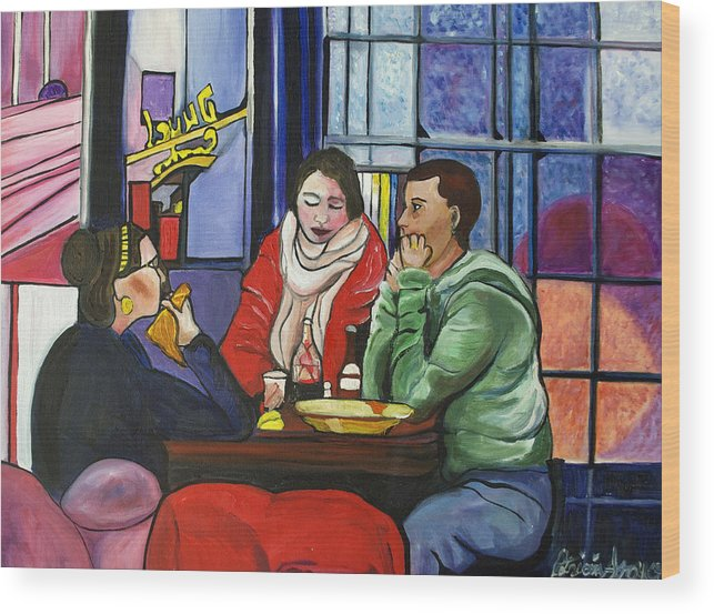 People Wood Print featuring the painting Dinner In Dam by Patricia Arroyo