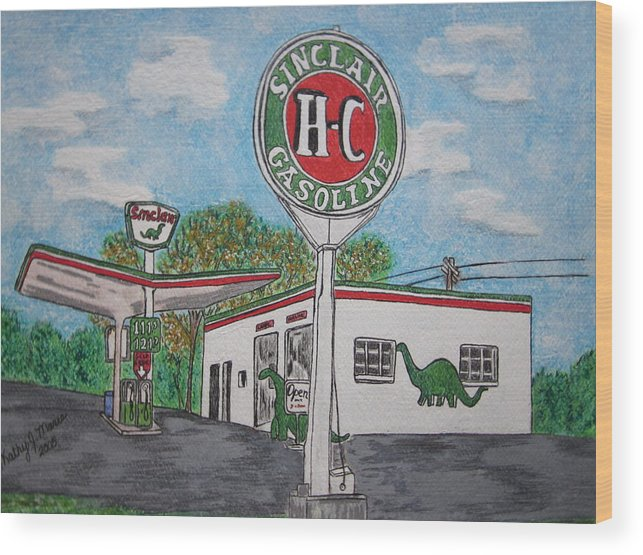 Dino Wood Print featuring the painting Dino Sinclair Gas Station by Kathy Marrs Chandler