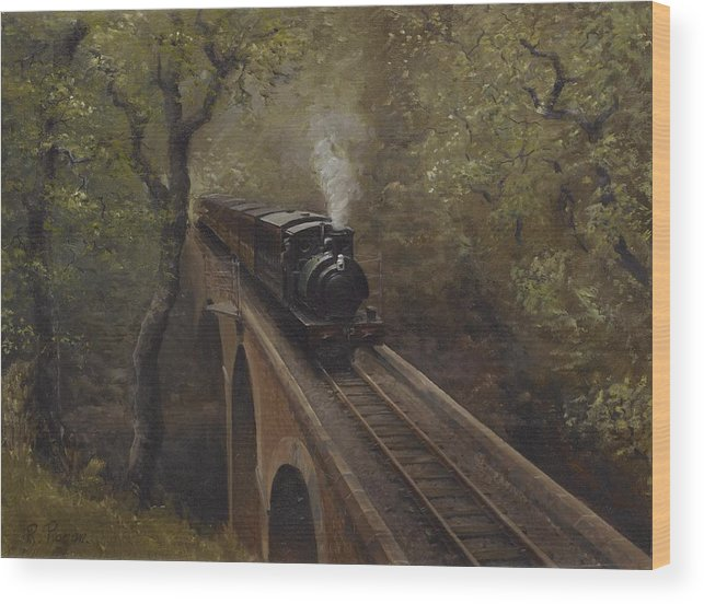 Steam Wood Print featuring the painting Dolgoch Viaduct by Richard Picton