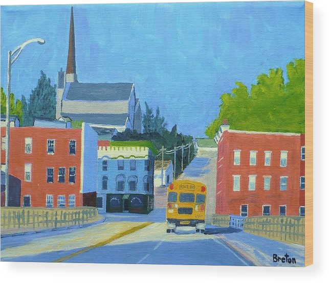 Landscape Wood Print featuring the painting Downtown With School Bus   by Laurie Breton