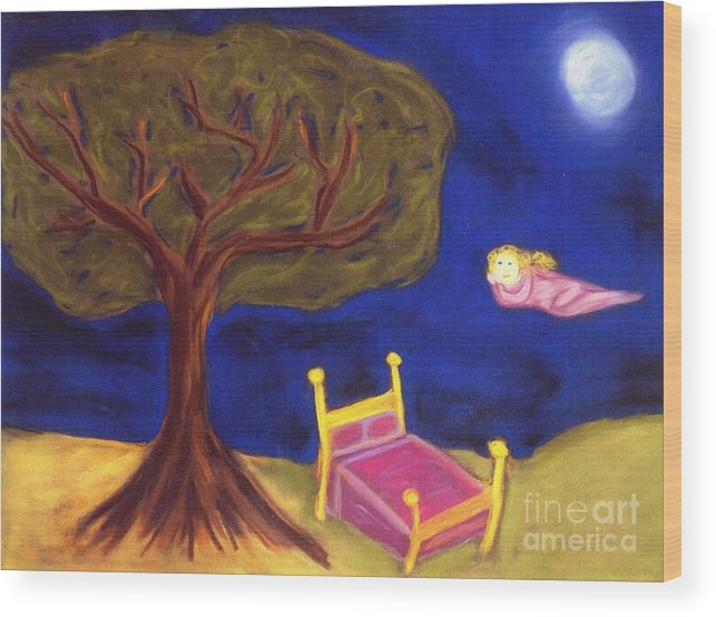 Dreams Wood Print featuring the pastel Dream Weaver by Christine Crosby