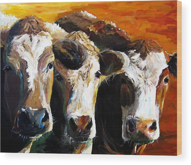 Cattle Wood Print featuring the painting Early Risers by Cari Humphry