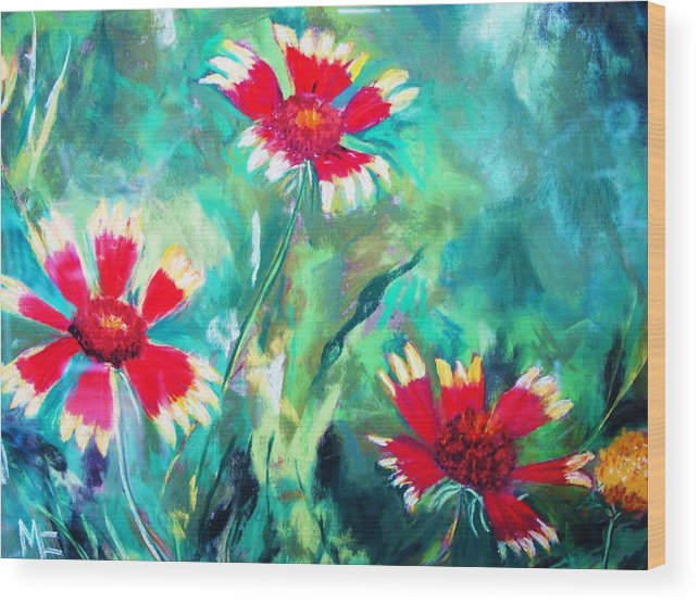 Flowers Wood Print featuring the painting East Texas Wild Flowers by Melinda Etzold