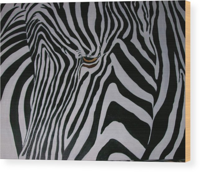Zebra Wood Print featuring the painting Equus Grevyi  by Leo Gordon