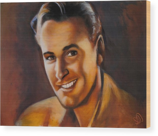 Portrait Wood Print featuring the painting Errol Flynn by Elizabeth Silk